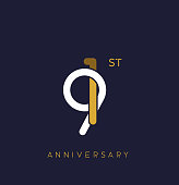 91st anniversary logo.overlapping number with simple monogram color. vector design for greeting card and invitation card.