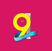 91st Anniversary simple emblems, template design for web, game ,Creative poster, booklet, leaflet, flyer, magazine, invitation card
