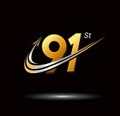 91st anniversary with swoosh and arrow icon. fast and forward golden anniversary logo on black background