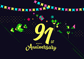 91st Happy Anniversary lettering text banner, dark color with geometric background