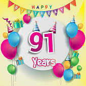 91st years Anniversary Celebration, birthday card or greeting card design with gift box and balloons, Colorful vector elements for the celebration anniversary party.