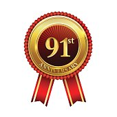 91st years anniversary golden badge with red ribbons isolated on white background, vector design for greeting card, banner and invitation card.