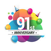 91st years anniversary logo, vector design birthday celebration with colorful geometric, Circles and balloons isolated on white background.