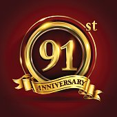 91st years anniversary logo with gold ring and golden ribbon, vector design
