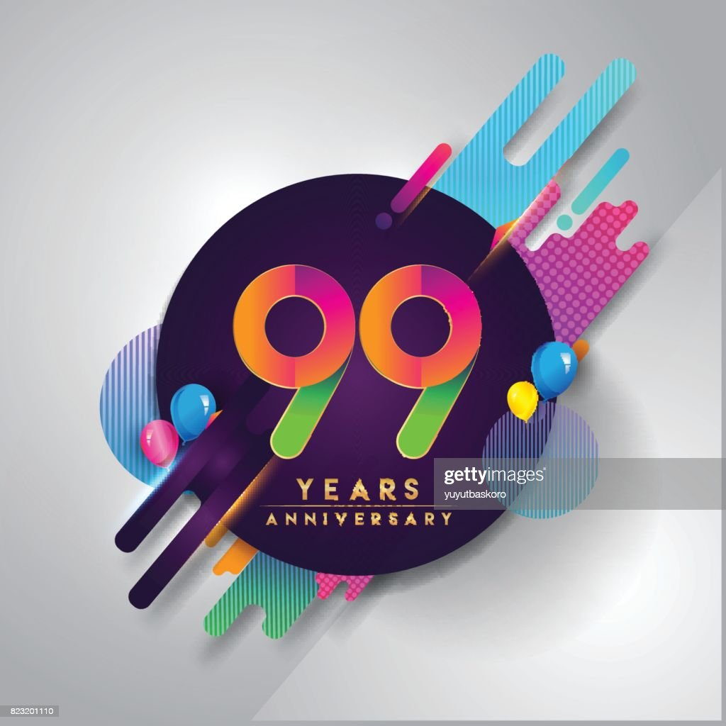 99th Years Anniversary Symbol With Colorful Abstract Background
