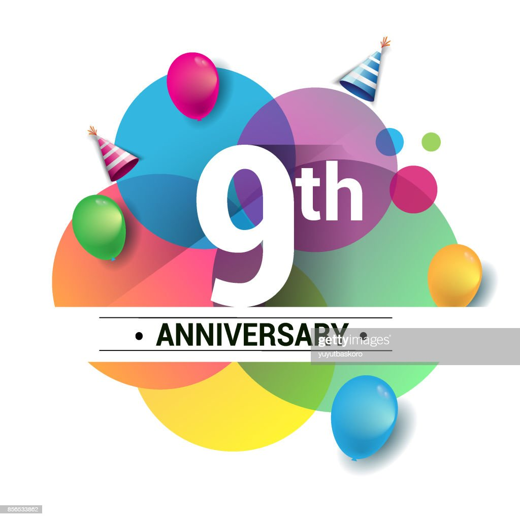9th years anniversary logo, vector design birthday celebration with colorful geometric, Circles and balloons isolated on white background.
