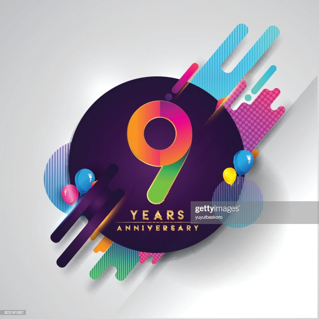 9th years Anniversary symbol with colorful abstract background