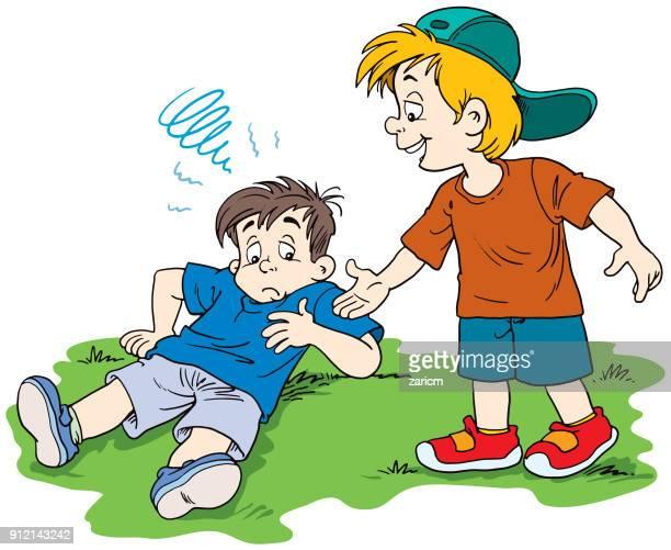 een kind helpt een ander kind opstaan