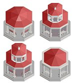 a collection of old isometric columns gazebo