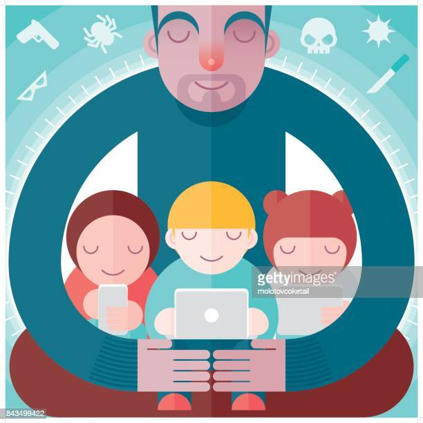 a father protecting the children from online threats - guarding stock illustrations