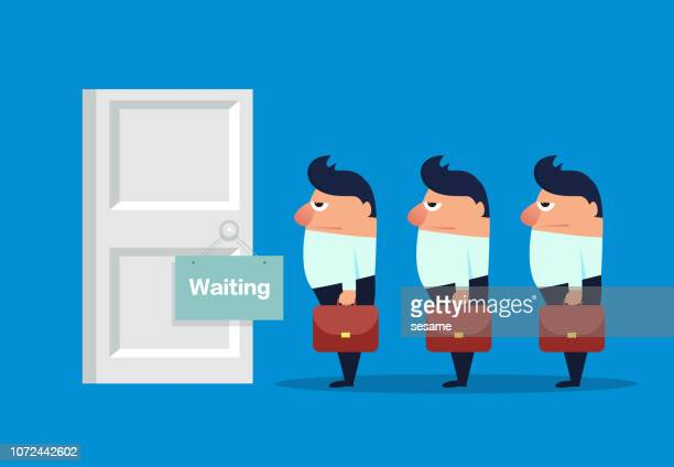 a group of businessmen waiting outside the door - entrance sign stock illustrations