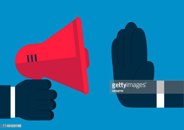 a huge hand prevents the loudspeaker from speaking - ignoring stock illustrations, clip art, cartoons, & icons