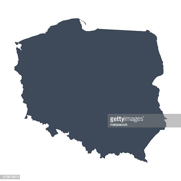 a illustrated blue poland country map - poland stock illustrations