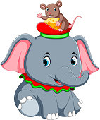 a little elephant play with a cute mouse on hat