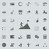 a man climbs a mountain icon. Detailed set of Finance icons. Premium quality graphic design sign. One of the collection icons for websites, web design, mobile app