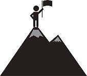 a man on the mountain top icon on white background. achievement of man on mountain top icon.