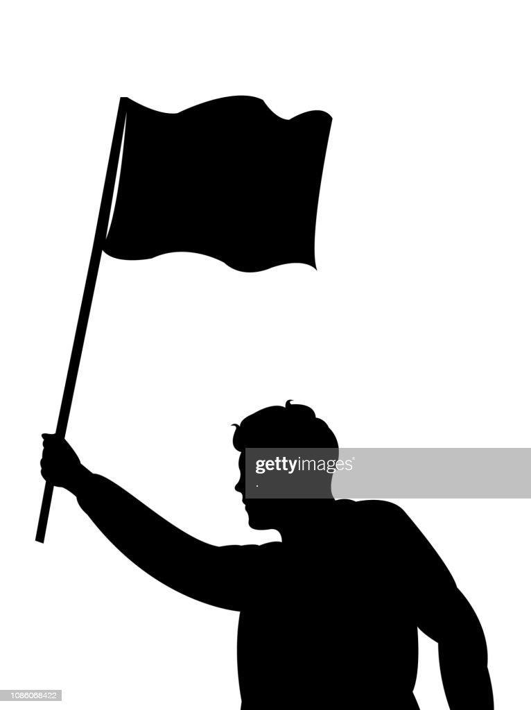 a protestor man holding banner, silhouette vector