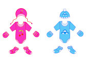a set of baby clothes for boy and girl in vector