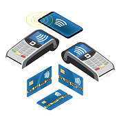 a set of pos terminals and credit cards. Payment is non-contact. Isometric 3d