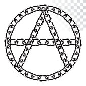 """a symbol of anarchy from a realistic metal chain. letter """" A """" in the circle. isolated on transparent background"""
