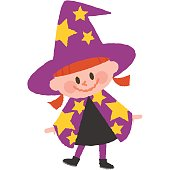 a vector illustration of a girl wearing halloween costumes