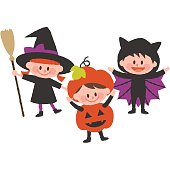 a vector illustration of children wearing halloween costumes