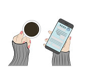 a woman is holding a cup of coffee and a smartphone with a news tape. vector illustration. view from above.