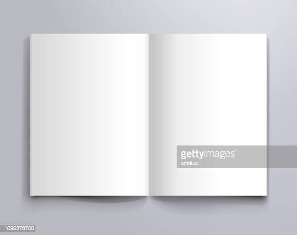 a4 open page mockup - book stock illustrations