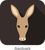 Aardvark cartoon face, flat icon design