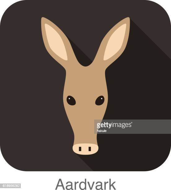 aardvark cartoon gesicht, flache ikone design - tamandua ameisenbär stock-grafiken, -clipart, -cartoons und -symbole