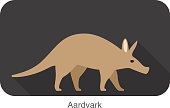 aardvark walking, side view vector