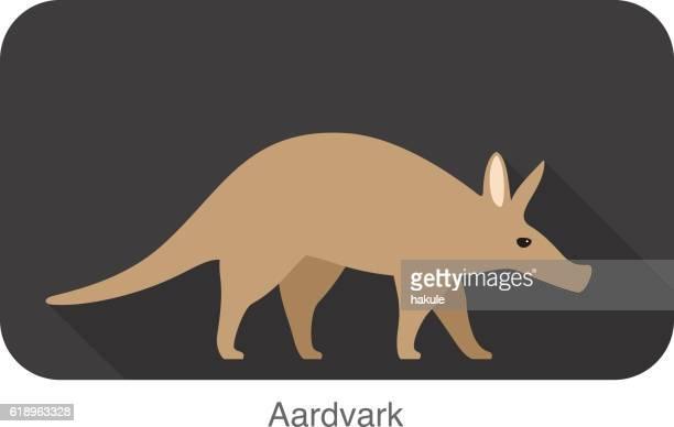 aardvark zu fuß, seitenansicht vektor - tamandua ameisenbär stock-grafiken, -clipart, -cartoons und -symbole
