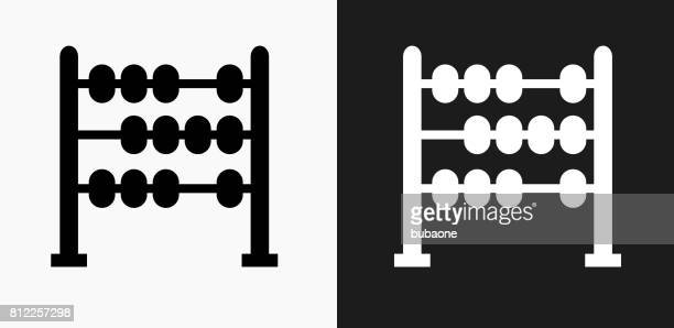 Abacus Icon on Black and White Vector Backgrounds