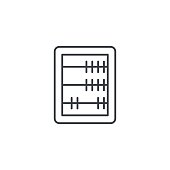 abacus, school education, mathematics or arithmetic thin line icon. Linear vector symbol
