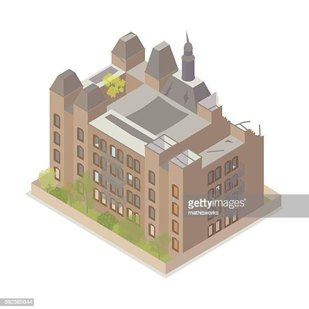 abandoned building illustration - mathisworks stock-grafiken, -clipart, -cartoons und -symbole
