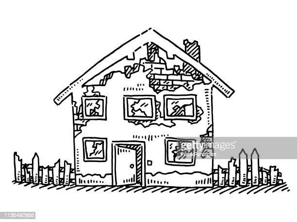 Verlassene Zerstörungshaus-Zeichnung