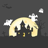 abandoned house on graveyard with spooky tree and flying ghost in full moon day, flat design illustration for halloween background