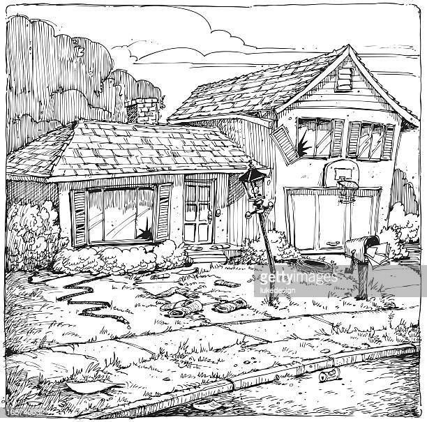 abandoned house - run down stock illustrations, clip art, cartoons, & icons