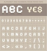 Abc font from paper tape and currency symbols