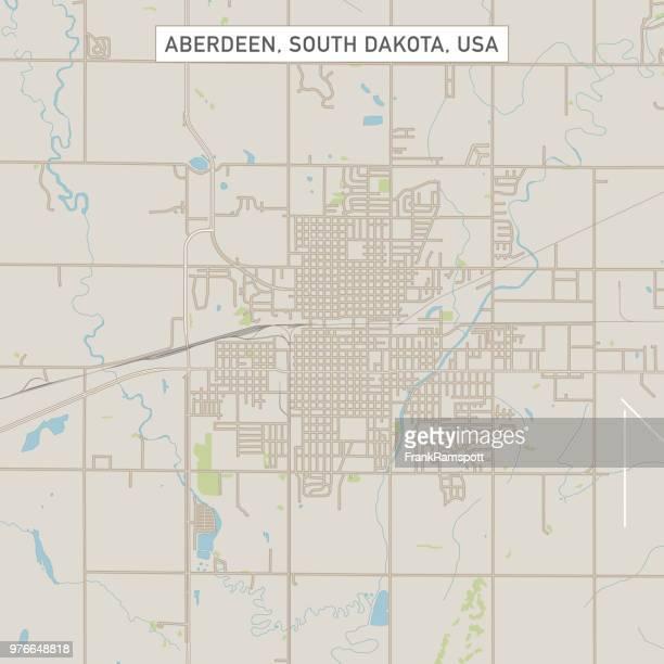aberdeen south dakota us city street map - aberdeen south dakota stock illustrations