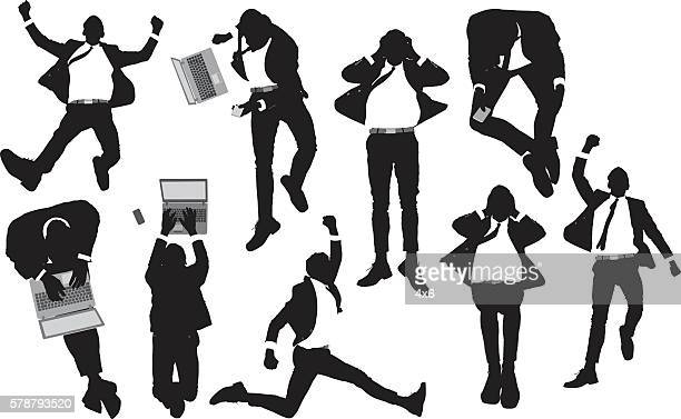 Above view of business man in various actions