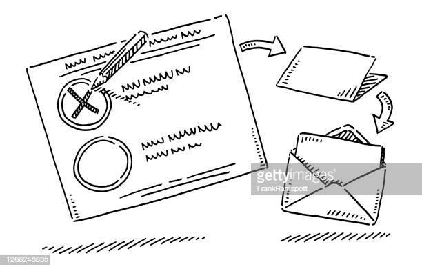 absentee abstimmung stimmzettel und umschlag zeichnung - briefumschlag stock-grafiken, -clipart, -cartoons und -symbole