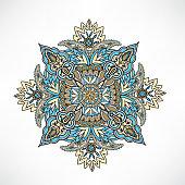 Abstact floral geometric ornament Oriental flower Ethnic mandala