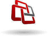 Abstact symbol of interlocking squares