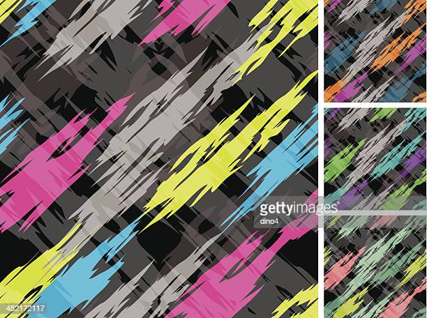 Abstract 1980's Seamless Pattern on Black Ground
