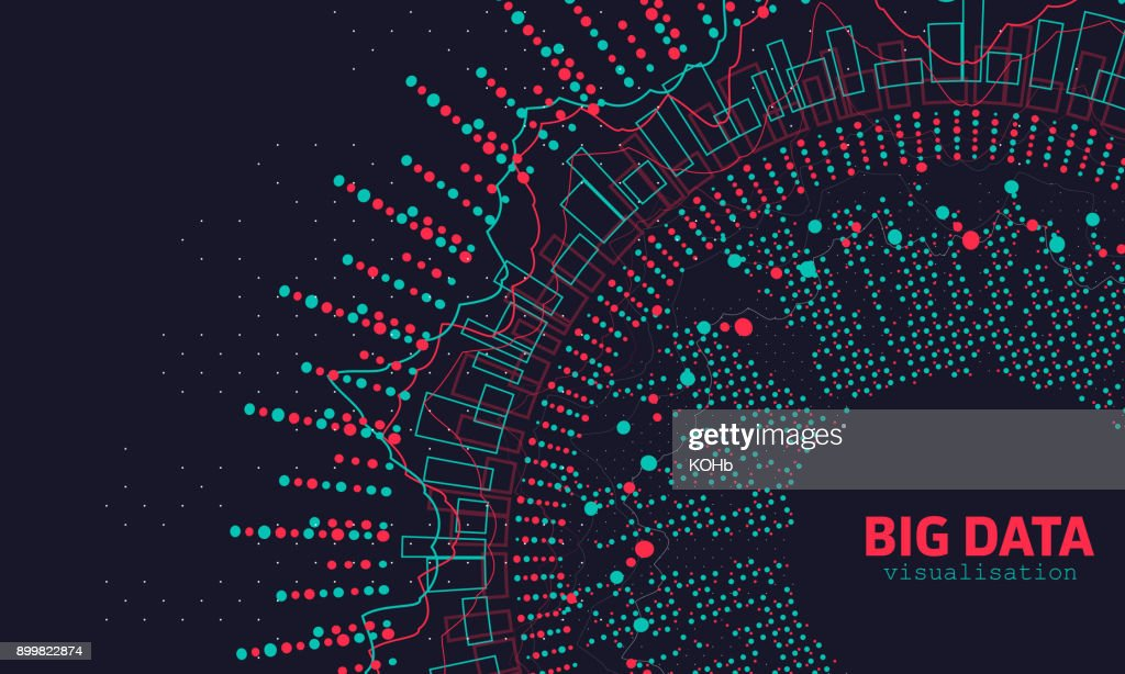 Abstract 3D Big Data Visualization. Futuristic Infographics Design