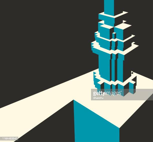 abstract 3d building model pattern background - model to scale stock illustrations, clip art, cartoons, & icons
