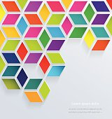 Abstract 3d colorful paper squares background.