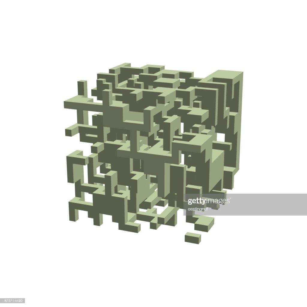 abstract 3d construction in form of cube vector illustration vector