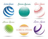 Abstract 3d dot spheres icon set